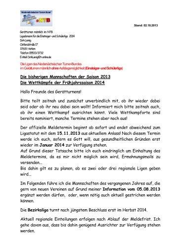 Die bisherigen Mannschaften der Saison 2013 Die ... - NTB