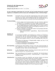 Kriterien für die Zulassung von LK-Turnieren im NTV