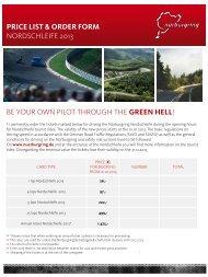 price list & order form - Nürburgring