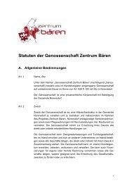 Statuten der Genossenschaft Zentrum Bären - Gemeinde Nuerensdorf
