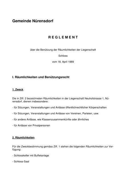 Schloss Reglement - Gemeinde Nuerensdorf