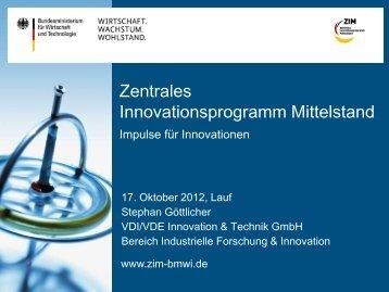 Zentrales Innovationsprogramm Mittelstand (ZIM) des ...