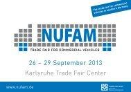 26 – 29 September 2013 Karlsruhe Trade Fair Center - NUFAM