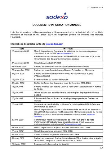 Document d'information annuel 2008 - Sodexo