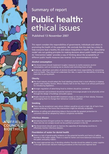 Nuff public health A4 - Nuffield Council on Bioethics