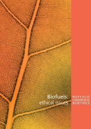 Biofuels: ethical issues - Nuffield Council on Bioethics