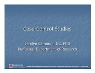 Case-Control Studies - National University of Health Sciences