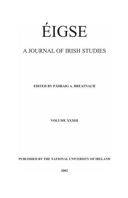 Eigse Paged 2002 National University Of Ireland