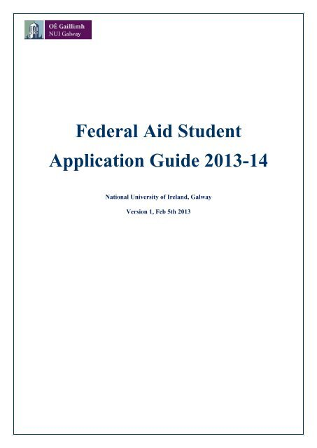 Download the Federal Aid Student Application Guide 2013-14