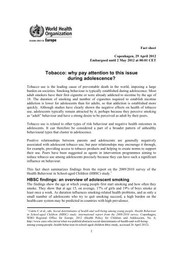 HBSC Fact sheets tobacco