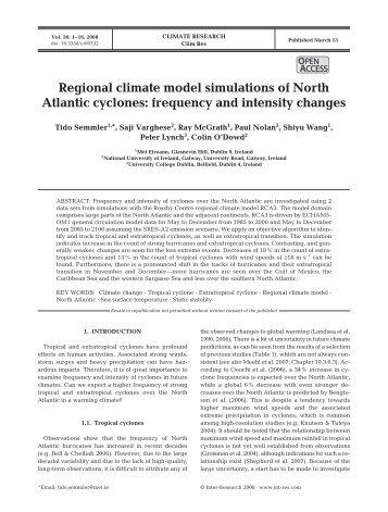 Regional climate model simulations of North Atlantic cyclones ...