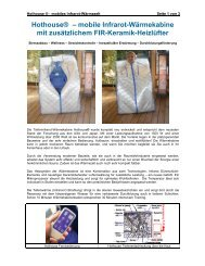 Hothouse® – mobile Infrarot-Wärmekabine mit zusätzlichem FIR ...
