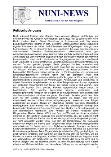 Politische Arroganz - Nuni-News - T-Online