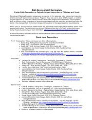 Safe Environment Curriculum - Diocese of Joliet