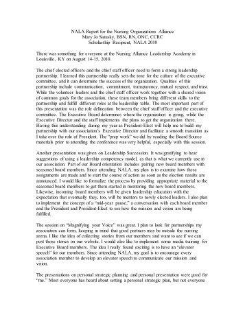 NALA Report for the Nursing Alliance - Nursing Organizations Alliance