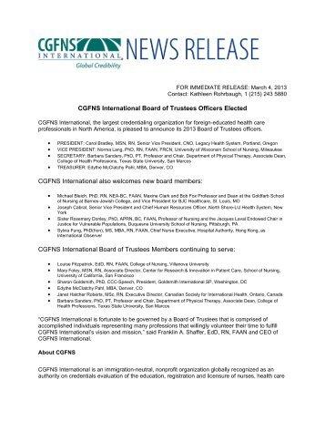 CGFNS International - Nursing Organizations Alliance