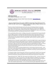AHNA News Release - Nursing Organizations Alliance
