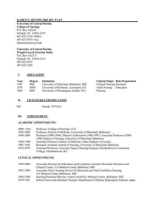 Ucf College Of Nursing >> Karen E Ucf College Of Nursing University Of Central Florida