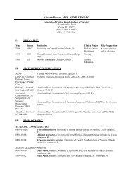 Download full curriculum vitae - UCF College of Nursing - University ...