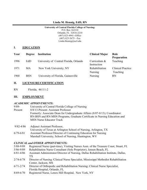 Ucf College Of Nursing >> Linda M Hennig Edd Rn Ucf College Of Nursing