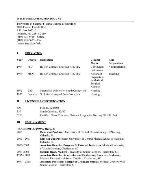 I. EDUCATION - UCF College of Nursing - University of Central Florida