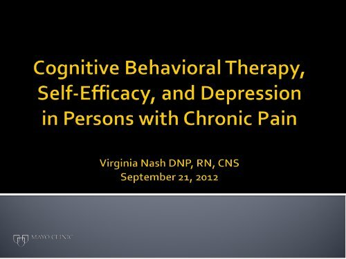 Cognitive Behavioral Therapy, Self-Efficacy, and Depression in ...