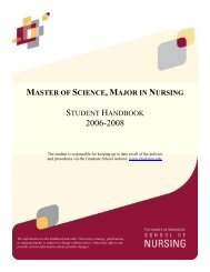 MS Handbook - School of Nursing - University of Minnesota