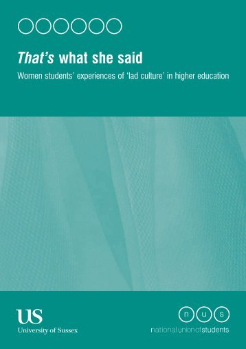 'That's What She Said' report here. - National Union of Students