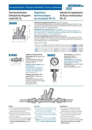 ventil PN 10 Régulateur thermostatique de ... - R. Nussbaum AG