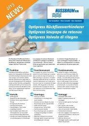 NEWS 2/13 Optipress Valvola di ritegno - R. Nussbaum AG