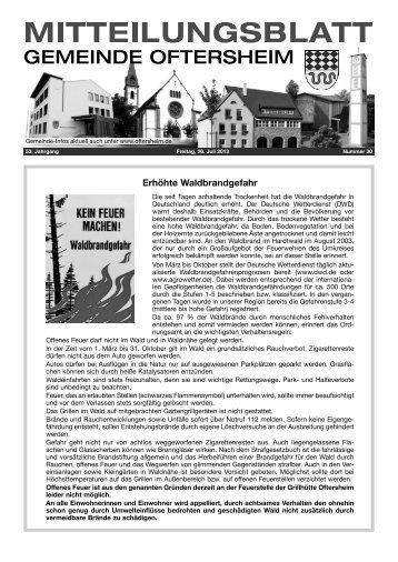 Erhöhte Waldbrandgefahr - Nussbaum Medien