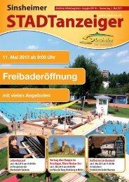 Stadtanzeiger KW18 Donnerstag, 02.05.13 - Nussbaum Medien