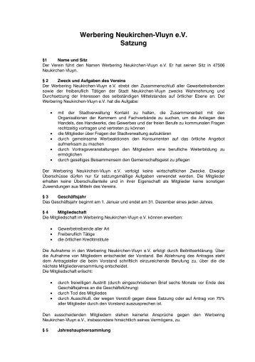 Werbering Neukirchen-Vluyn e.V. Satzung - NV-Aktuell
