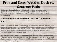 Pros and Cons: Wooden Deck vs. Concrete Patio
