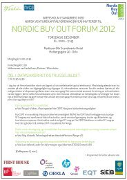 NORDIC BUY OUT FORUM 2012 - Norsk Ventures