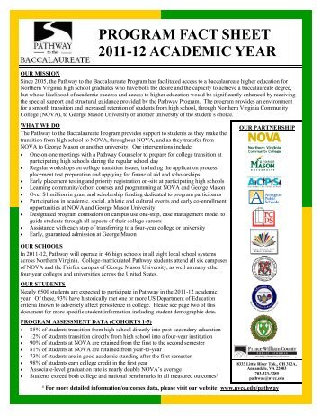 program fact sheet 2011-12 academic year - Northern Virginia ...