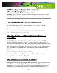 GPU Technology Conference 2010 Sessions on Astronomy ... - Nvidia