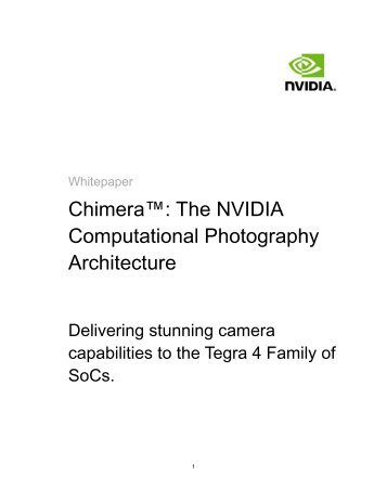 Chimera™: The NVIDIA Computational Photography Architecture