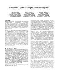 Automated Dynamic Analysis of CUDA Programs - University of ...