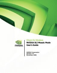 Drivers for Windows NVIDIA SLI Mosaic Mode User's Guide