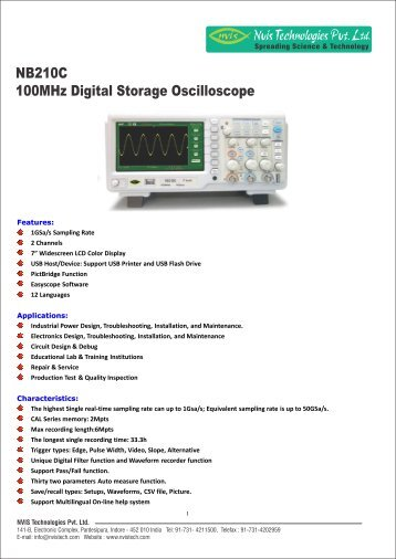 digital storage oscilloscope applications