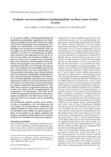 Evaluatie van een kwantitatieve bepalingsmethode van Bence ...