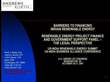 BARRIERS TO FINANCING INDIAN RENEWABLE ENERGY ...