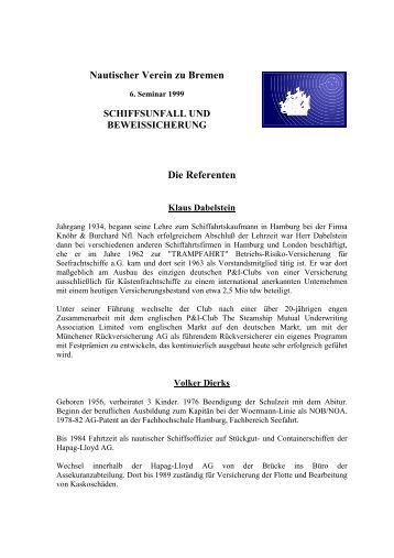 Die Referente - Nautischer Verein zu Bremen, Bremen