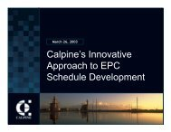 Calpine's Innovative Approach to EPC Schedule ... - NWCCC