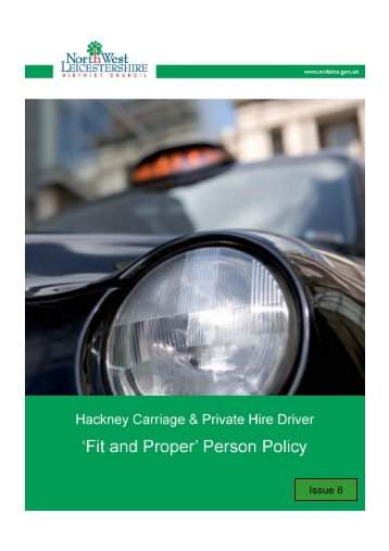 Fit & Proper Person Policy Issue 8 - North West Leicestershire ...