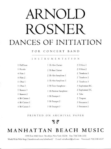 Rosner - Dances of Initiation, op. 98