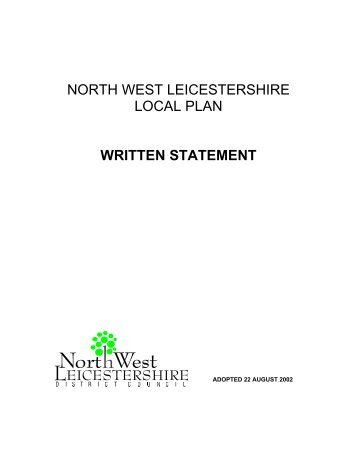 NORTH WEST LEICESTERSHIRE LOCAL PLAN WRITTEN ...