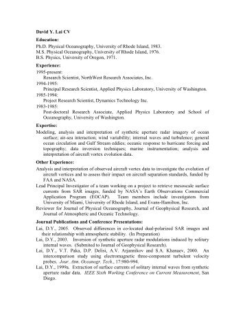 David Lai - NorthWest Research Associates, Inc.