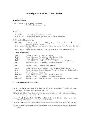 Larry Mahrt - NorthWest Research Associates, Inc.